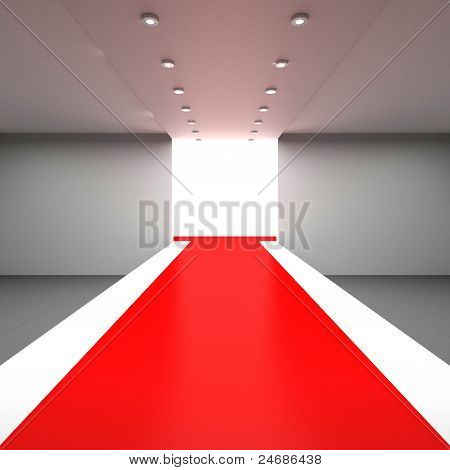 Empty hall with a podium for fashion display poster