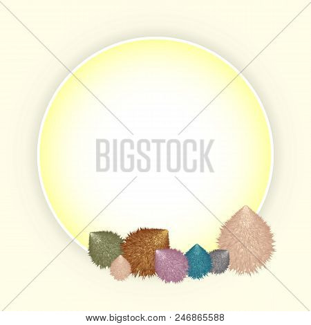 Vintage Circle Photo Frame With Handmade Hairy Toys, Stock Vector