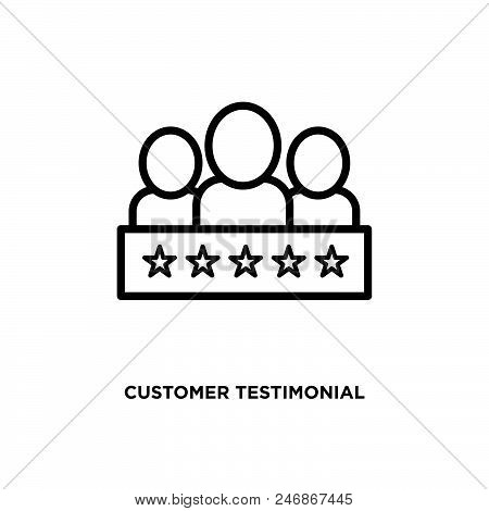 Customer Testimonial Vector Icon On White Background. Customer Testimonial Modern Icon For Graphic A