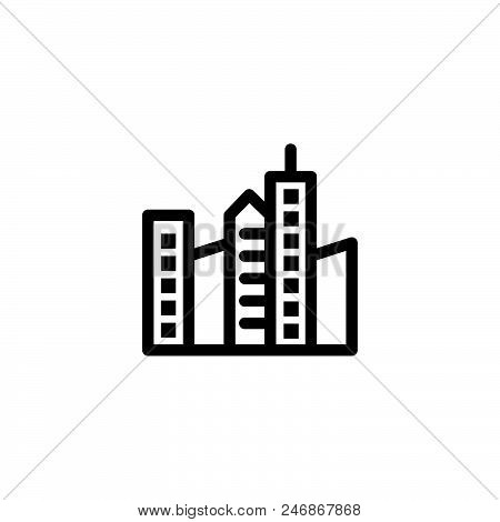 City Buildings Vector Icon On White Background. City Buildings Modern Icon For Graphic And Web Desig