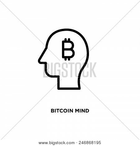 Bitcoin Mind Vector Icon On White Background. Bitcoin Mind Modern Icon For Graphic And Web Design. B
