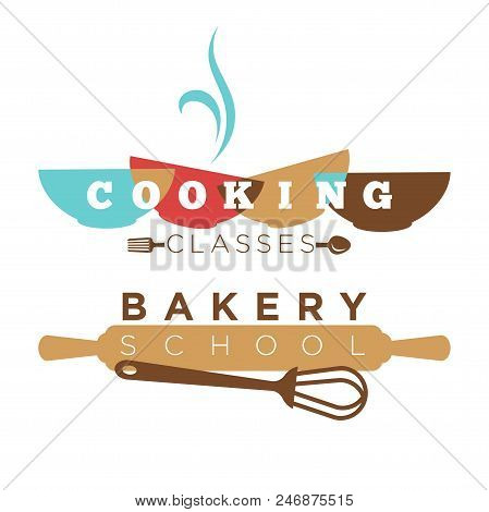 Bakery School Or Cooking Classes Logo Template. Vector Flat Icon Of Baker Rolling Pin And Whisk, Bow