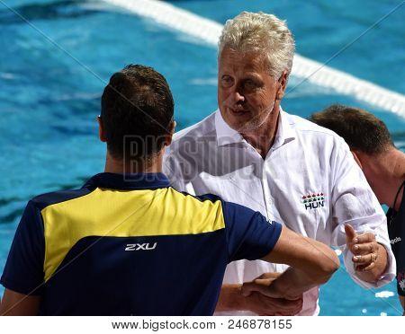 Budapest, Hungary - Jul 17, 2017. Fatovic Elvis, Head Coach Of Australia Men Waterpolo Team Congratu