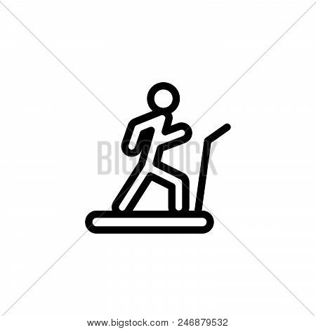 Treadmill Running Vector Icon On White Background. Treadmill Running Modern Icon For Graphic And Web