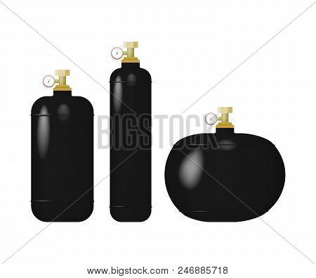 Set Of Black Cylinder With Liquefied Gas. Compressed Sulfur Dioxide, Nitrogen, Argon Vector Illustra