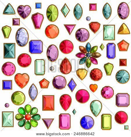Vector Set Of Realistic Precious Stones Jewels Isolated On White Background With Different Cuts. Pri