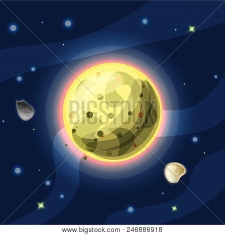 Io, Vector Cartoon Illustration. Yellow Jupiter Moon Io Of Solar System In Dark Deep Blue Space, Iso