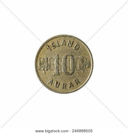 10 Icelandic Aurar Coin (1946) Obverse Isolated On White Background