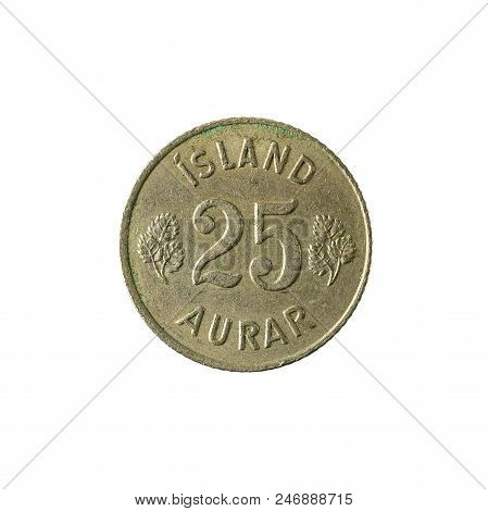 25 Icelandic Aurar Coin (1966) Obverse Isolated On White Background
