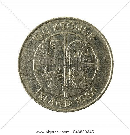 10 Icelandic Krona Coin (1984) Reverse Isolated On White Background