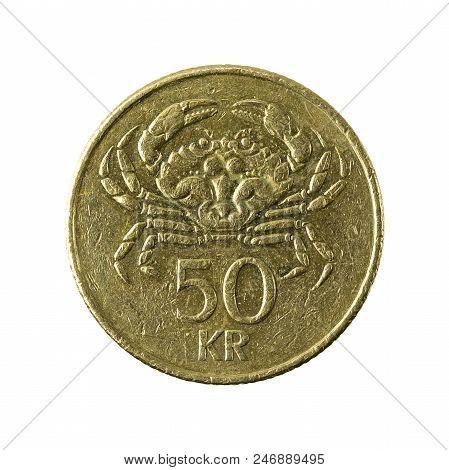 50 Icelandic Krona Coin (2001) Obverse Isolated On White Background