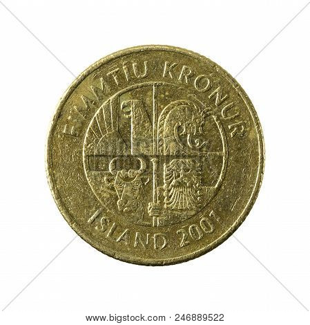 50 Icelandic Krona Coin (2001) Reverse Isolated On White Background