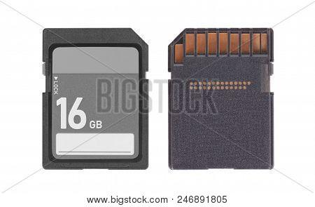 Memory Card Isolated On White Background - 16 Gigabyte