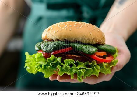 Unknown Chef Holding Tasty Veggie Quinoa Chickpeas Burger With Tomotoes, Lettuce And Spinach, Close-