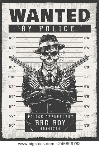 Wanted Modern Poster With Skeletons. Vector Illustration