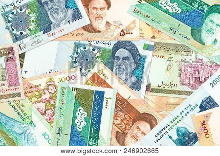 A Lot Of Iranian Rial Bank Notes