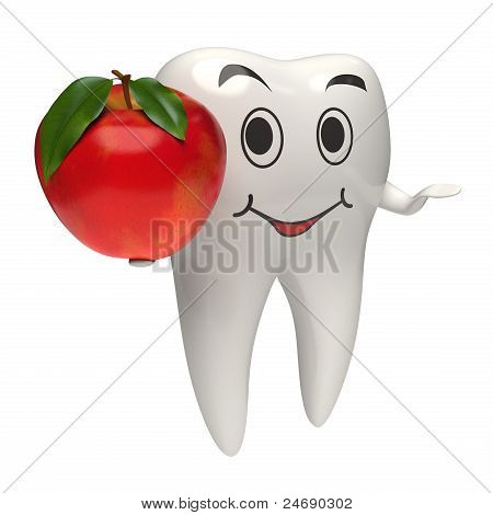 3D Healthy White Tooth Giving A Red Apple
