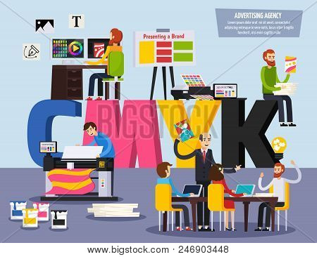 Advertising Agency Personnel Services Flat Orthogonal Colorful Composition With Designers Ads Projec