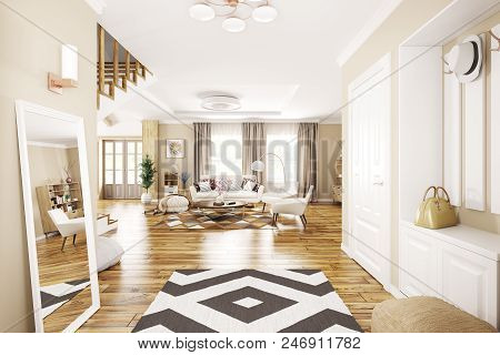 Interior Of Modern Entrance Hall, Living Room In House 3d Rendering