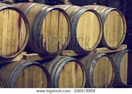 Barrels Of Wine. Wine Vault. Container, Winery, Alcohol