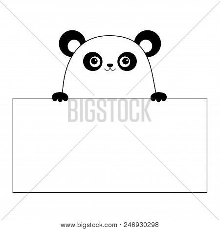 Panda Bear Face Head Silhouette Hanging On Paper Board Template Paw Hands Contour Line Funny Baby Cute Cartoon Character Love Card Kawaii Animal