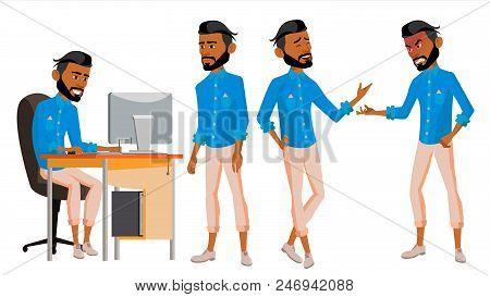 Arab Man Office Worker Vector. Business Set. Arabic, Saudi, Emirates, Qatar, Uae. Thawb, Thobe. Face