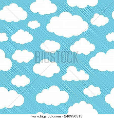 Clouds Blue Pattern. Nubes On Sky, Cartoon Skyline Clouds Seamless Background For Baby And Child Bri