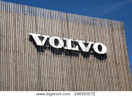 Volvo Letters On A Wooden Building