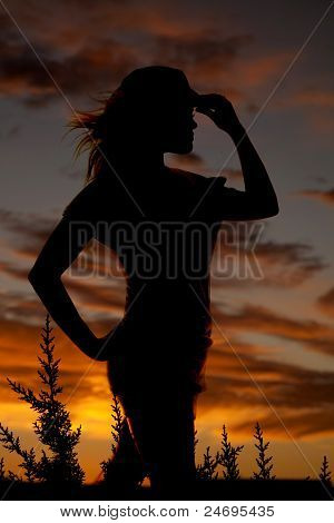 Woman Silhouette Woman Face Right Cowgirl