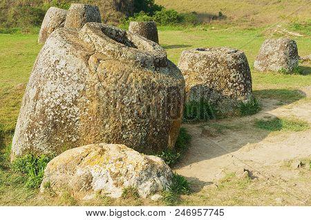 Ancient Stone Jars In A Plain Of Jars (site #1) Near Phonsavan, Xiangkhouang Province, Laos. Unesco