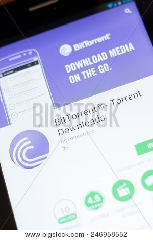 Ryazan, Russia - June 24, 2018: Bittorrent, Bit Torrent Downloads Mobile App On The Display Of Table