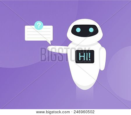 Chat Bot Isolated On The Ultraviolet Background. Bot Holds Speech Bubbles. Robot Say Hi On Screen. C