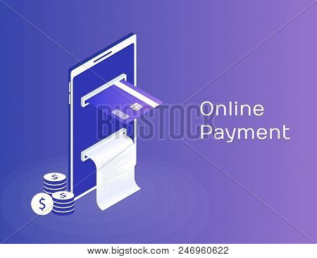 Payment By Means Of The Mobile Phone, Payments Electronic Online, Mobile Purse, Smartphone With Chec