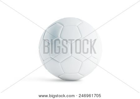 Blank White Leather Soccer Ball Mock Up, Front View, 3d Rendering. Empty Football Sphere Mockup, Iso