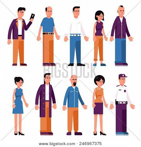Set Of Men And Women In Different Clothes In Neutral Poses. Flat Style.