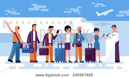 Queue Of People Travelers To Check In For Air Flight Against The Background Of An Airfield With Airp