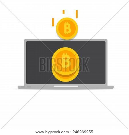 Peer to peer payments.  PC transfer money.  Cryptocurrency Transaction. Vector illustration. poster