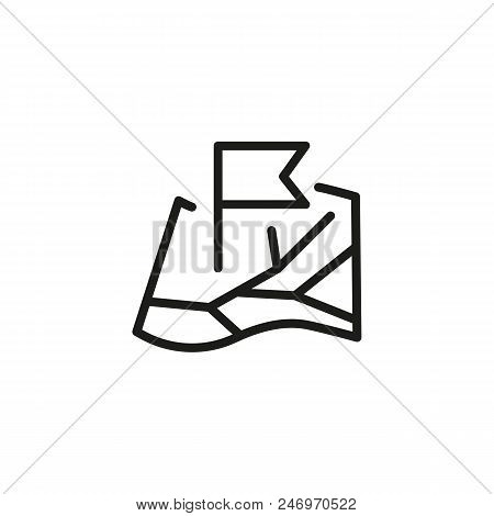 Flag Map Pin Line Vector Photo Free Trial