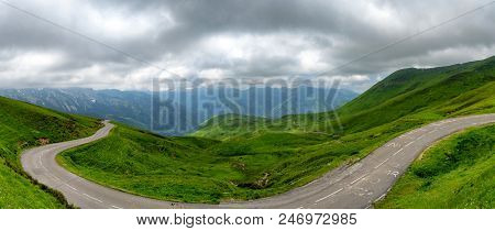 A Panorama Of The Aubisque Pass In The French Pyrenees