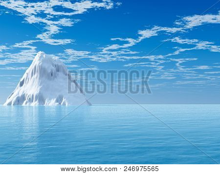 The big icebergs  on the open ocean - 3D rendering