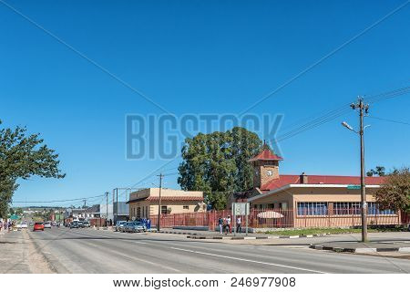 Elliot, South Africa - March 28, 2018: A Street Scene, With The Town Hall, Businesses, Vehicles And