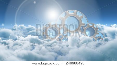 Digital composite of Composite image with sky and clouds and digital gears