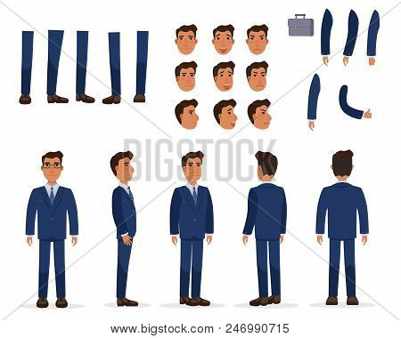 Flat Icons Set Of Business Man Views, Poses And Emotions. Man Facial Expressions Collection. Busines