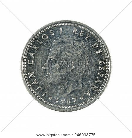 One Spanish Peseta Coin (1987) Isolated On White Background