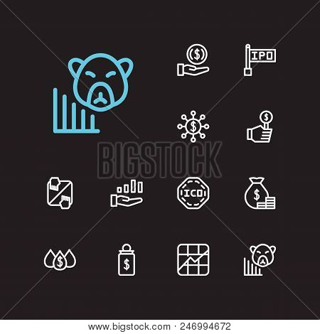 Finance Trading Icons Set. Yield And Finance Trading Icons With Bid, Invest Money And Dividend. Set