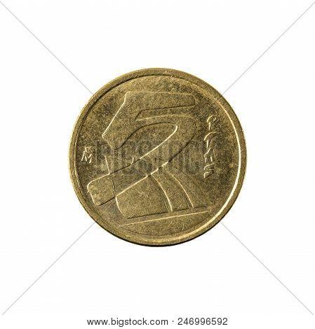 Five Spanish Peseta Coin (1984) Reverse Isolated On White Background
