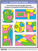 IQ training educational math puzzle for kids and adults with basic shapes - count ovals, rectangles, circles, squares, trapezoids and triangles. Answer included. poster