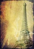 paris eiffel tower vintage post card illustration poster