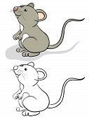 Fun mouse. Color and contour cartoon illustration. poster