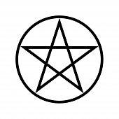 Wicca Pentagram religious symbol simple icon. Wicca Pentagram poster